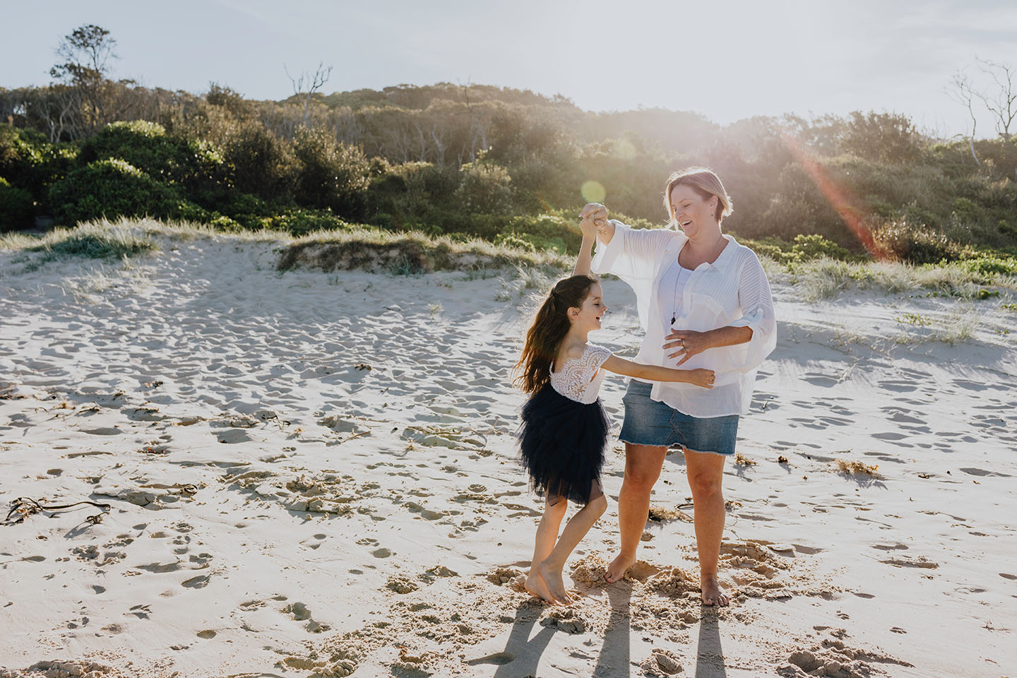 Mother and daughter dancing at the beach, family session, Alice Payne photography