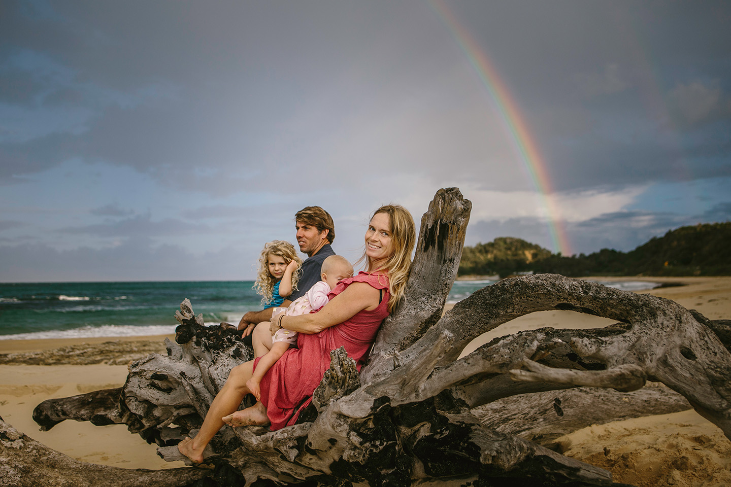 Family at the beach, rainbow, pregnacy, baby, location, mid north coast photography