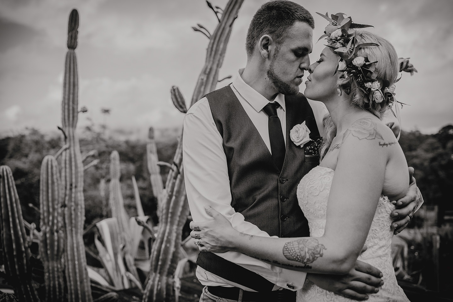 wedding, bride and groom, b&w, cactus, lovers, Alice Payne photography