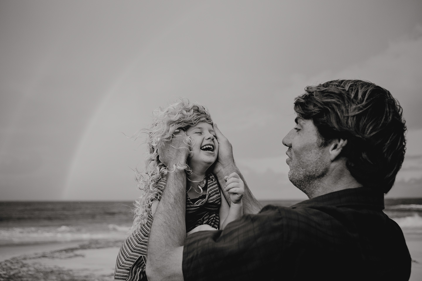 Father and daughter, laughter, family photography, children photography, b&w, Alice Payne photography